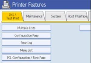 Ricoh Printer Configuration Page