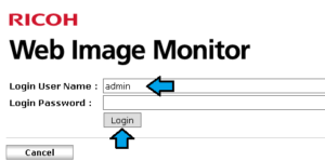 Default username and password for ricoh web image monitor